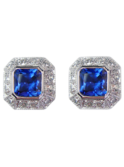 Ceylon Sapphire and diamond stud earrings. Cornflower blue sapphires with a pavae diamond surround.