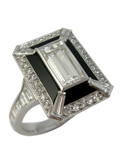 Art deco inspired baguette diamond and onyx dress ring tapered baguette diamond corners and trapezoid baguette shoulders.